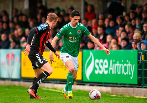 Shane Griffin of Cork City in action against Jonathan Lunney of Bohemians. Photo: Eóin Noonan/Sportsfile