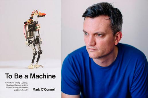 Writer Mark O'Connell and the cover of his book 'To Be A Machine'