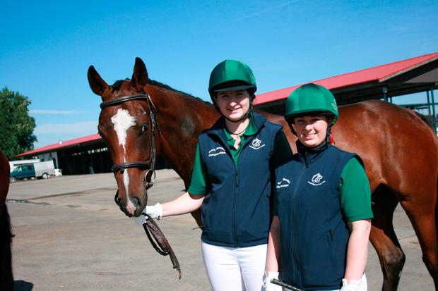 Amy Finn (right) with team-mate Miriam Bourke at the WBFSH Young Breeders' World Championship in Canada last year