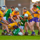 Limerick and Clare players tussle during the Allianz Hurling League Division 1 quarter-final at the Gaelic Grounds. Photo: Diarmuid Greene/Sportsfile