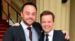 Ant and Dec at Buckingham Palace, where the pair received OBEs last year. Photo: Getty Images