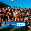 Campbell College players celebrate their Ulster Schools Senior Cup victory. Photo: John Dixon/Sportsfile