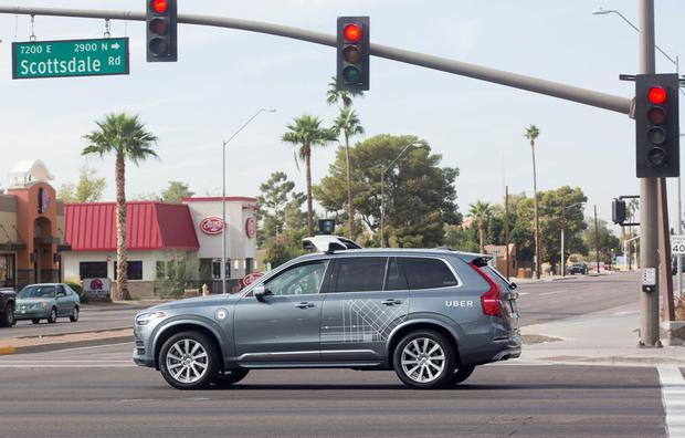 A Volvo SUV operated by Uber in Arizona