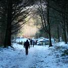 Walking in the snow at The Hell Fire Club on Sunday. Photo: Colin O'Riordan