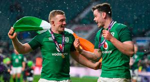 Dan Leavy, left, and James Ryan of Ireland celebrate following the NatWest Six Nations Rugby Championship match between England and Ireland at Twickenham Stadium in London, England. Photo by Ramsey Cardy/Sportsfile