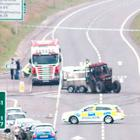 The aftermath of the collision between the lorry and tractor in Dungannon. Image: Belfast Telegraph