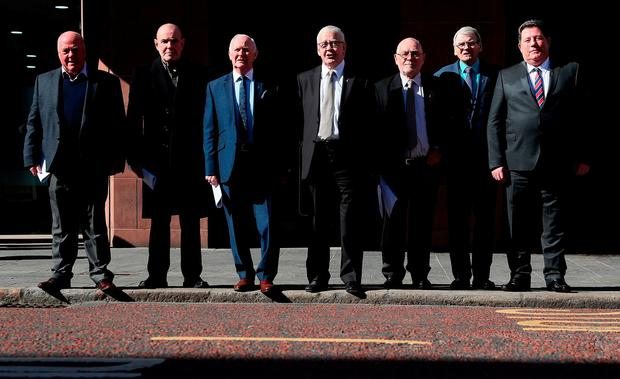 Seven of the 14 'Hooded' men, who were kept in hoods interned in Northern Ireland in 1971, (from left) Jim Auld, Patrick McNally, Liam Shannon, Francie McGuigan, Davy Rodgers, Brian Turley and Joe Clarke, following a press conference at KRW Law in Belfast, after the European Court of Human Rights delivered its judgement on the treatment of the 'Hooded' men. Picture: Brian Lawless/PA Wire