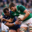 10 March 2018; Iain Henderson of Ireland is tackled by Fraser Brown of Scotland during the NatWest Six Nations Rugby Championship match between Ireland and Scotland at the Aviva Stadium in Dublin. Photo by Ramsey Cardy/Sportsfile