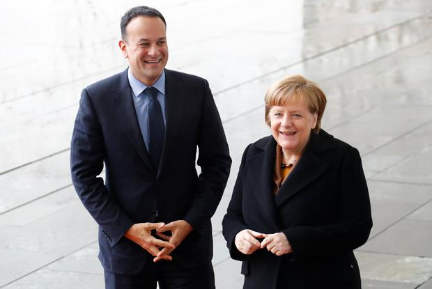 German Chancellor Angela Merkel welcomes Taoiseach Leo Varadkar REUTERS/Fabrizio Bensch
