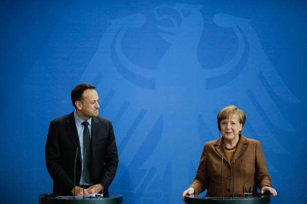 Taoiseach Leo Varadkar and German Chancellor Angela Merkel address the media after talks at the chancellery in Berlin (AP Photo/Markus Schreiber)