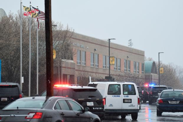 Emergency services and law enforcement vehicles are seen outside the Great Mills High School following a shooting on Tuesday morning in St. Mary's County Maryland U.S