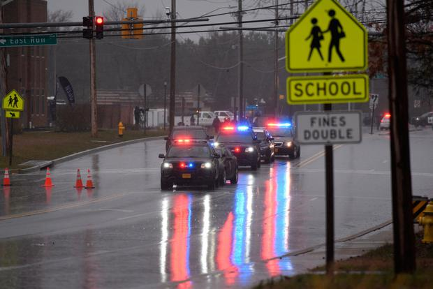Law enforcement motorcade is seen near the Great Mills High School following a shooting on Tuesday morning in St. Mary's County, Maryland, U.S., March 20, 2018. REUTERS/Sait Serkan Gurbuz