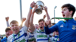Garbally College players celebrate with the trophy after their Connacht Schools Senior Cup triumph. Photo: INPHO