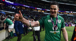 17 March 2018; Jonathan Sexton of Ireland celebrates after the NatWest Six Nations Rugby Championship match between England and Ireland at Twickenham Stadium in London, England. Photo by Brendan Moran/Sportsfile