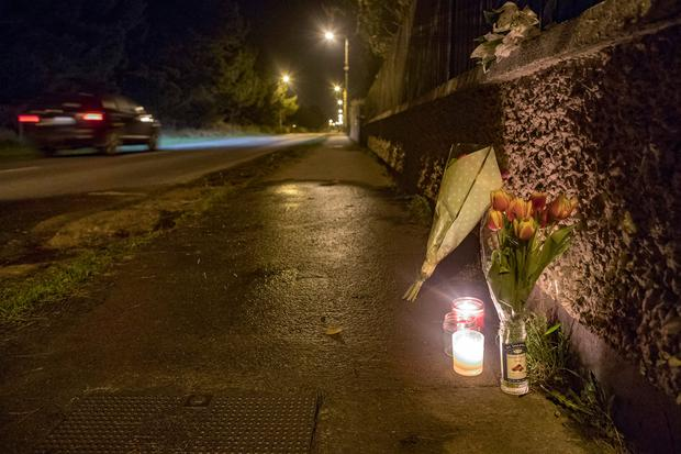 Flowers and candles at the scene of the accident in Bettystown, Co Meath. Photo: Arthur Carron