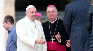 Pope Francis and Archbishop of Dublin Diarmuid Martin attend the Wednesday general audience in Saint Peter's square at the Vatican, March 21, 2018. REUTERS/Tony Gentile