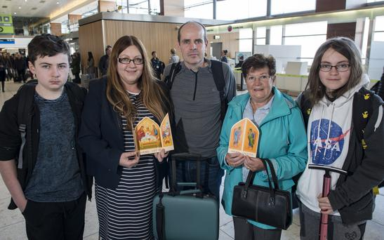 The Tobin Family are presenting an icon to Rome to give to Pope Francis: Cathal (13) Brenda, Bryan, Grandmother Maureen and Emma (20)