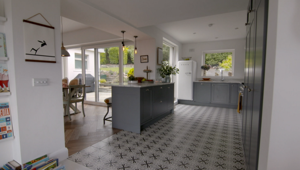 The kitchen - complete with a Smeg frigde - in Emma Lynch's family home.