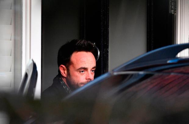 Ant McPartlin leaving a house in west London after he was interviewed by police on the same day it was revealed his TV presenting partner Declan Donnelly will host their programme Saturday Night Takeaway without him