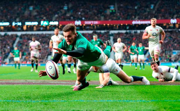 Jacob Stockdale scores Ireland's third try on their way to lifting the Six Nations trophy and the Triple Crown at Twickenham. Andy Cosslett, the chairman of the Rugby Football Union, has claimed the competiton was no longer fit for purpose. Photo: PA Wire.