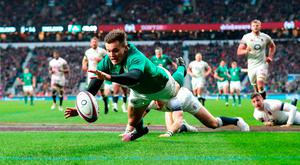 Jacob Stockdale scores Ireland's third try. Photo: PA Wire.