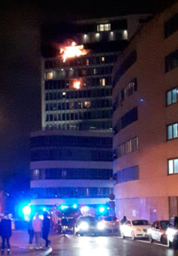 The scene of the blaze in Ballymun Photo: John Sheridan/Twitter