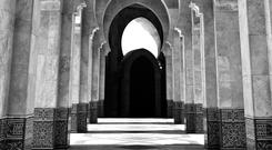 The cascading order of arches at Hassan II Mosque in Casablanca