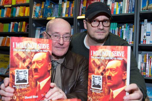 Author David Rice, left, at the launch of his book with film and television director Lenny Abrahamson at Hodges Figgis in Dublin. Photo: Colin O'Riordan