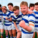 Blackrock College's Scott Barron (far right) celebrates with team-mates following their Leinster Schools Junior Cup victory Photo: Seb Daly/Sportsfile