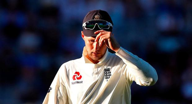 England's captain Joe Root reacts