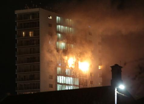 Pictures taken as firefighters tackle huge blaze that broke out at the Metro Hotel in Ballymun. Picture: Brian McEvoy