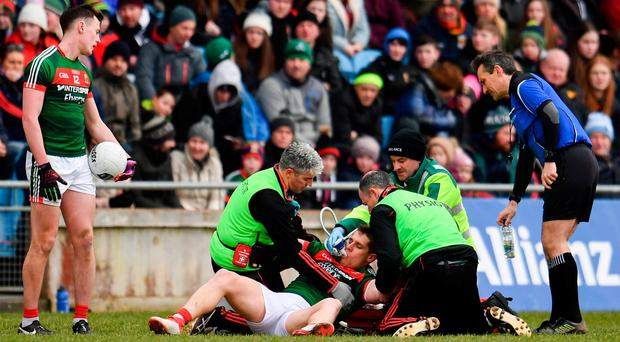 Lee Keegan of Mayo receives treatment during the Allianz Football League Division 1 Round 6 match between Mayo and Tyrone at Elverys MacHale Park in Castlebar, Co. Mayo. Photo by Sam Barnes/Sportsfile