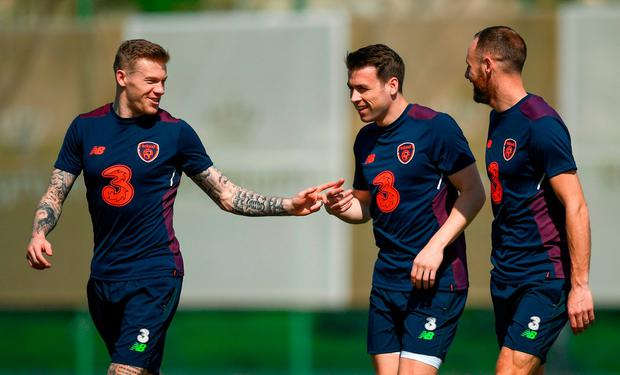 Republic of Ireland players, from left, James McClean, Seamus Coleman and David Meyler during squad training at Regnum Sports Centre in Belek, Turkey. Photo by Stephen McCarthy/Sportsfile