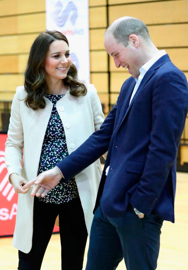 The Duke and Duchess of Cambridge meet wheelchair basketball players during a SportsAid event at the Copper Box in the Olympic Park, London