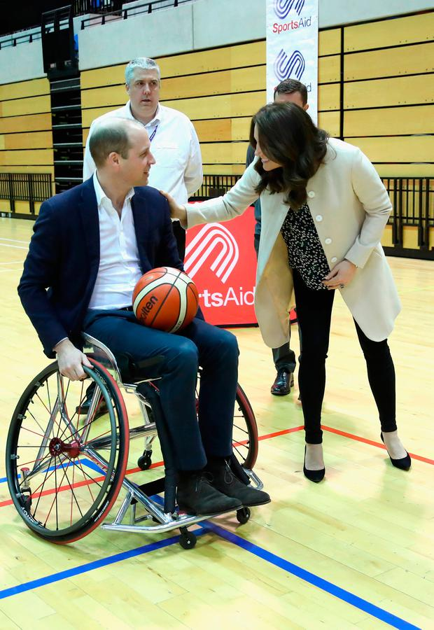 Prince William, Duke of Cambridge and Catherine, Duchess of Cambridge meet wheelchair basketball players, some of whom hope to compete in the 2022 Commonwealth Games in Birmingham, during their visit to the Copperbox Arena on March 22, 2018 in London, England. (Photo by Chris Jackson - WPA Pool/Getty Images)
