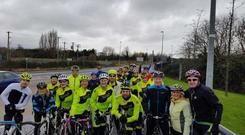 A group of Laurels Charity Crew volunteers on a training cycle for their April fundraiser in aid of vital orthopaedic surgery in Ireland.
