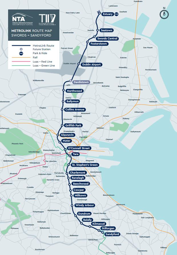 Revealed: Preferred route for €3bn MetroLink from city centre to on