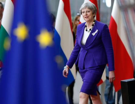 Britain's Prime Minister Theresa May arrives at a European Union leaders summit in Brussels, Belgium, March 22, 2018. REUTERS/Francois Lenoir