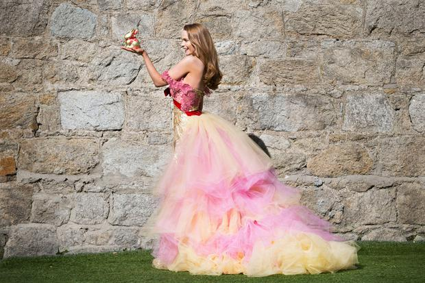 Model Aoife Walsh wears a bespoke gown inspired by the latest addition created by top Irish fashion designer Synan O'Mahony. Picture: Leon Farrell/Photocall Ireland