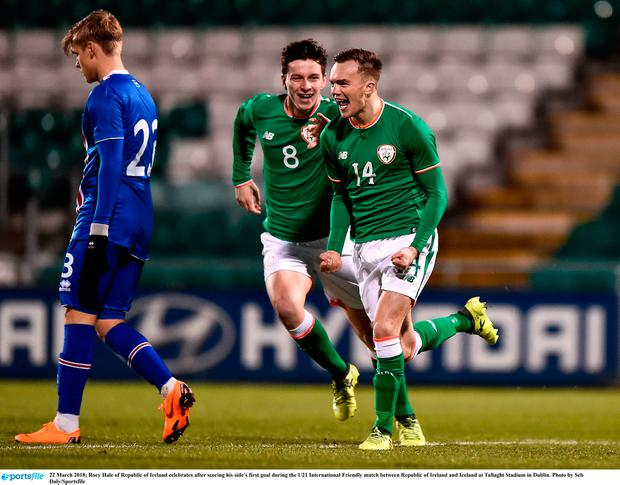 Rory Hale of Republic of Ireland celebrates after scoring his side's first goal