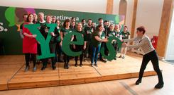 Ailbhe Smyth joins members of the Yes Campaign during the Together for Yes campaign launch in The Pillar Room, The Rotunda Foundation, Parnell Square, Dublin. Photo: Gareth Chaney Collins