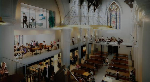 Artist's impression of upstairs view of what inside of St Andrews will look like under proposals. Photo: Collins