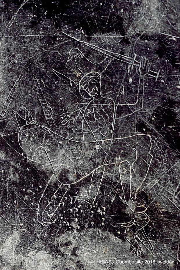 The slate with the etching of a horseman Picture: Kevin Weldon/Aisling Collins