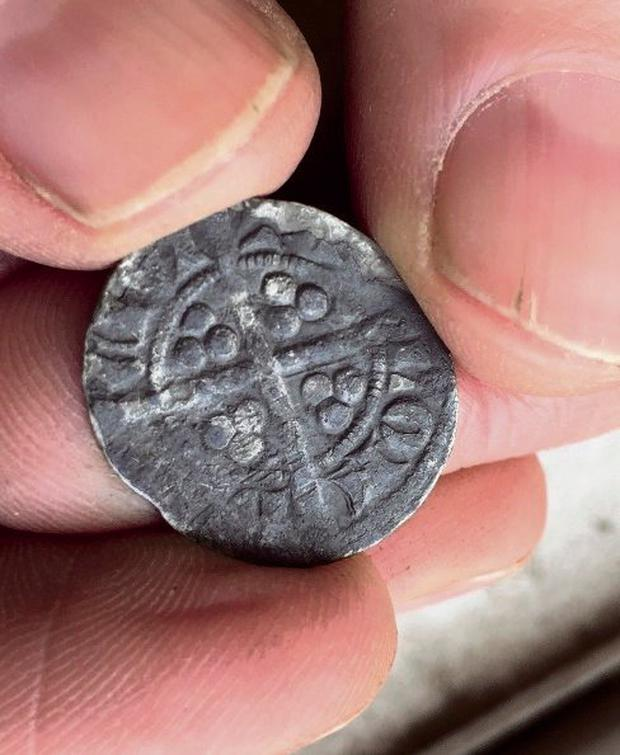 A coin from the 13th or 14th Century found on the site Picture: Kevin Weldon/Aisling Collins