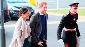 Meghan Markle and Prince Harry arrive for a visit to the Eikon Exhibition Centre in Lisburn where they are attending an event to mark the second year of youth-led peace-building initiative Amazing the Space