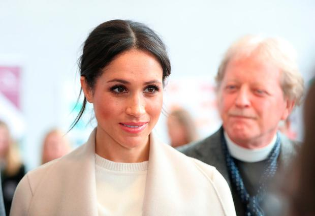 Meghan Markle during a visit to the Eikon Exhibition Centre in Lisburn, where, along with Prince Harry, she attended an event to mark the second year of youth-led peace-building initiative Amazing the Space