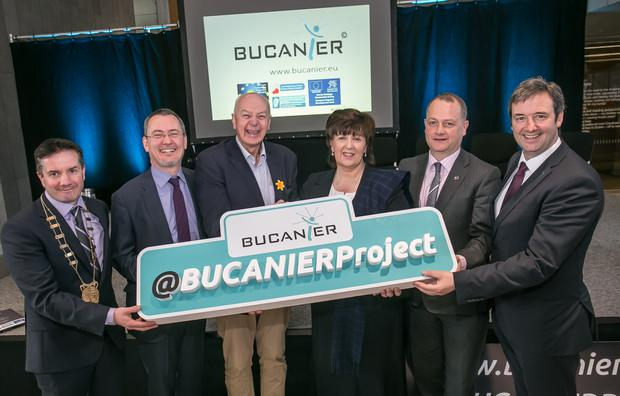 Pictured are Wexford COCO Cathaoirleach John Hearty, John O'Toole, CEO BIM, entrepreneur Bobby Kerr, Dr Patricia Mulcahy, President IT Carlow, Tom Enright, Chief Executive Wexford LEO, Minister of State Michael Darcy at the launch of the BUCANIER project in Ireland.