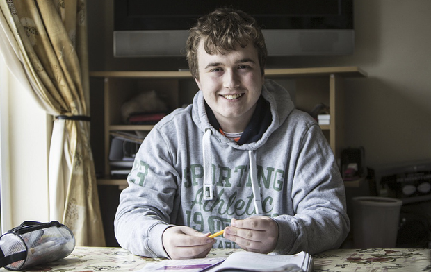 Jonathon Noonan (20) says exams are not as important as they seem after having cancer. Photo: Liam Burke Press 22