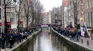 England fans beside the canal in Amsterdam