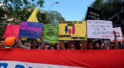 Protesters march in Asuncion, Paraguay, where abortion is illegal AFP/Getty